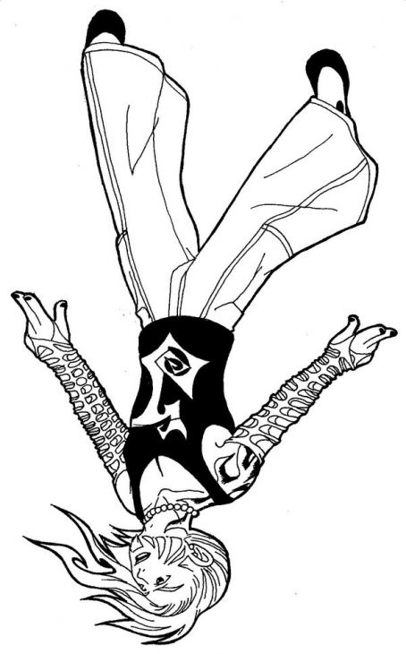 Jeff Hardy Performing His Signature Move Coloring Page