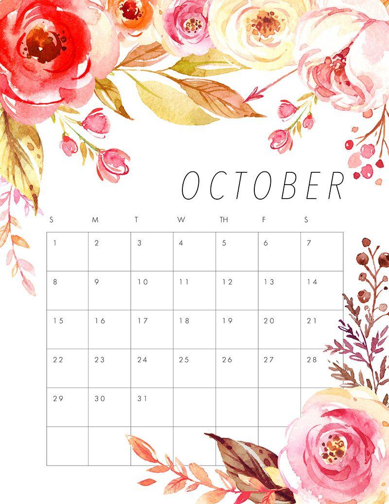 Calendar Pretty : Free printable floral calendar pretty flowers