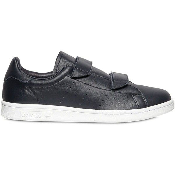 Adidas Originals By Hyke Men Hyke Velcro Leather Sneakers (£100) ❤ liked on Polyvore featuring men's fashion, men's shoes, men's sneakers, navy, navy blue mens shoes, mens velcro shoes, mens navy blue sneakers, mens velcro strap shoes and mens navy shoes