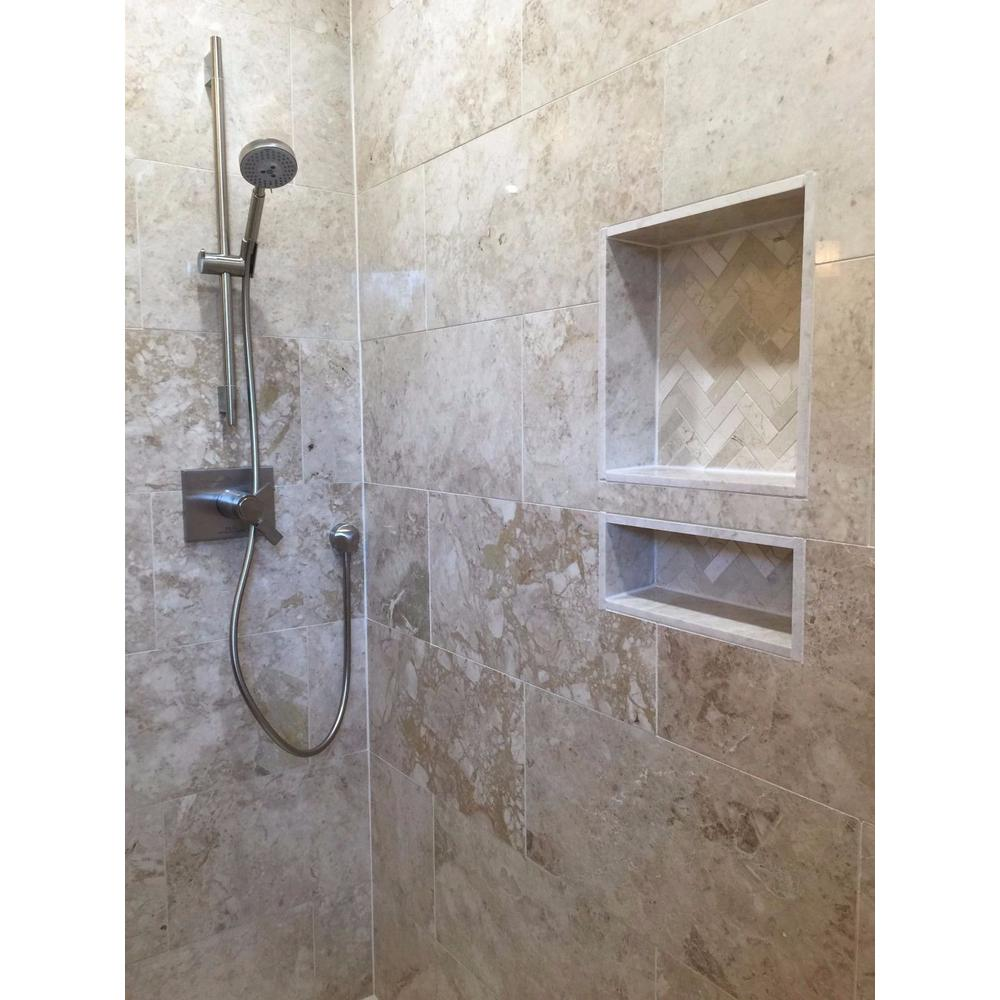 Emoderndecor Over Mount Installation 17 In X 25 In Abs Double Shelve Bathroom Recessed Shower Niche For Shampoo Toiletry Storage Shc R 1725d The Home Depot In 2020 Tile Shower Niche Recessed Shower