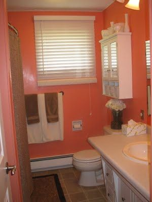 What You Make It Bright Bathroom Reveal Coral Bathroom Decor Orange Bathroom Decor Bathroom Decor Colors