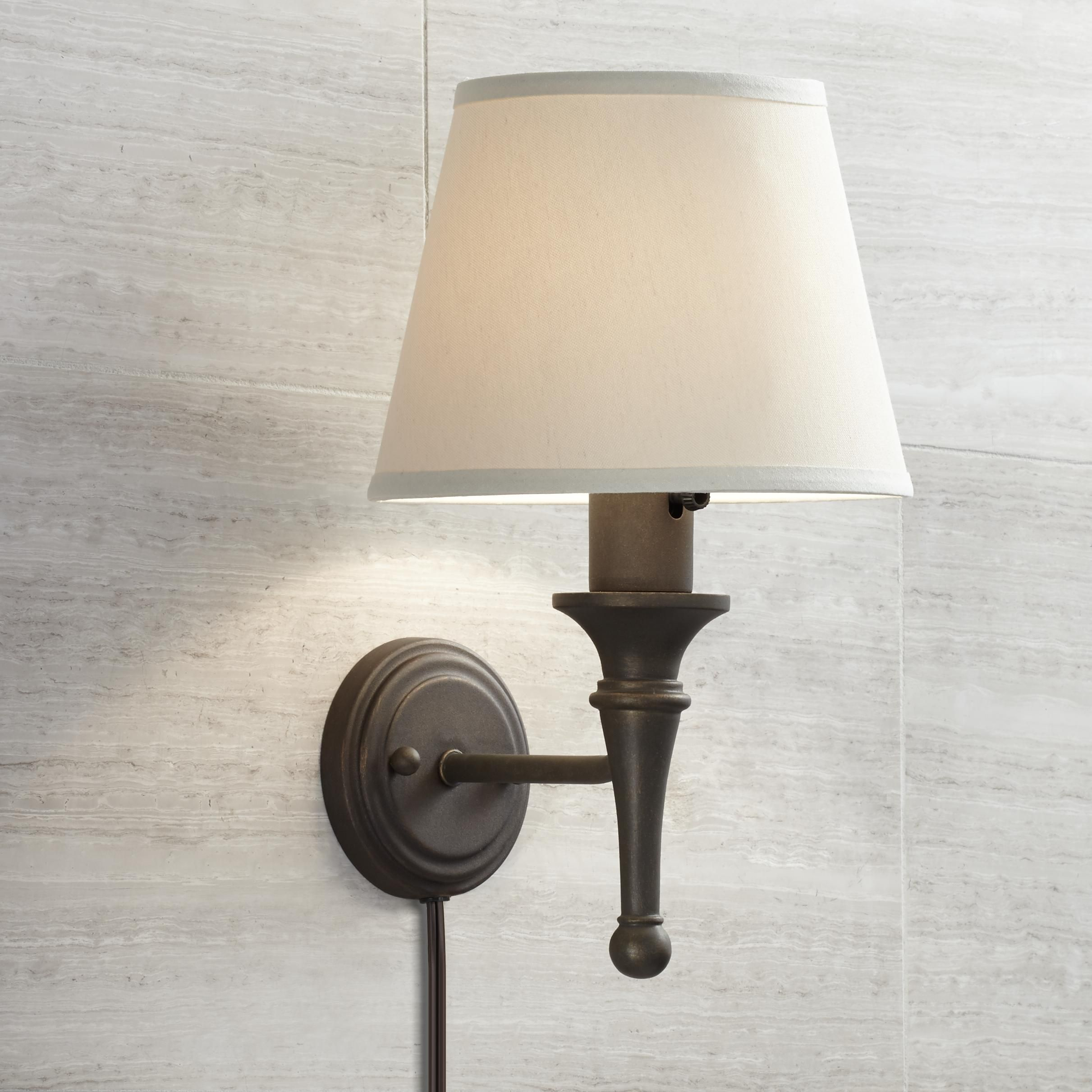 Braidy Bronze Plug In Wall Sconce In 2020 With Images Plug In