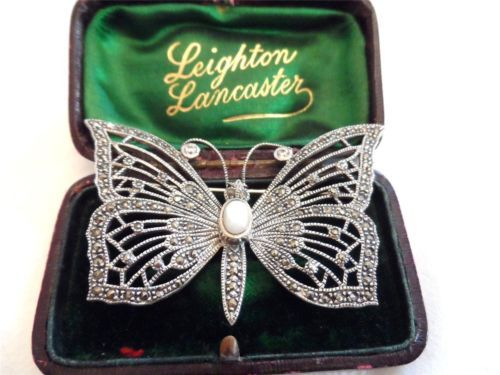 VINTAGE MARCASITE BUTTERFLY BROOCH PIN STERLING SILVER MOTHER OF PEARL