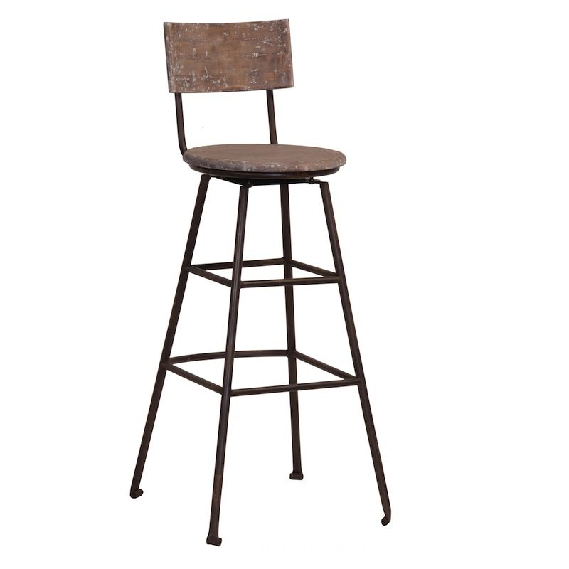 High Quality Canteen Aged Industrial Wooden Bar Stool