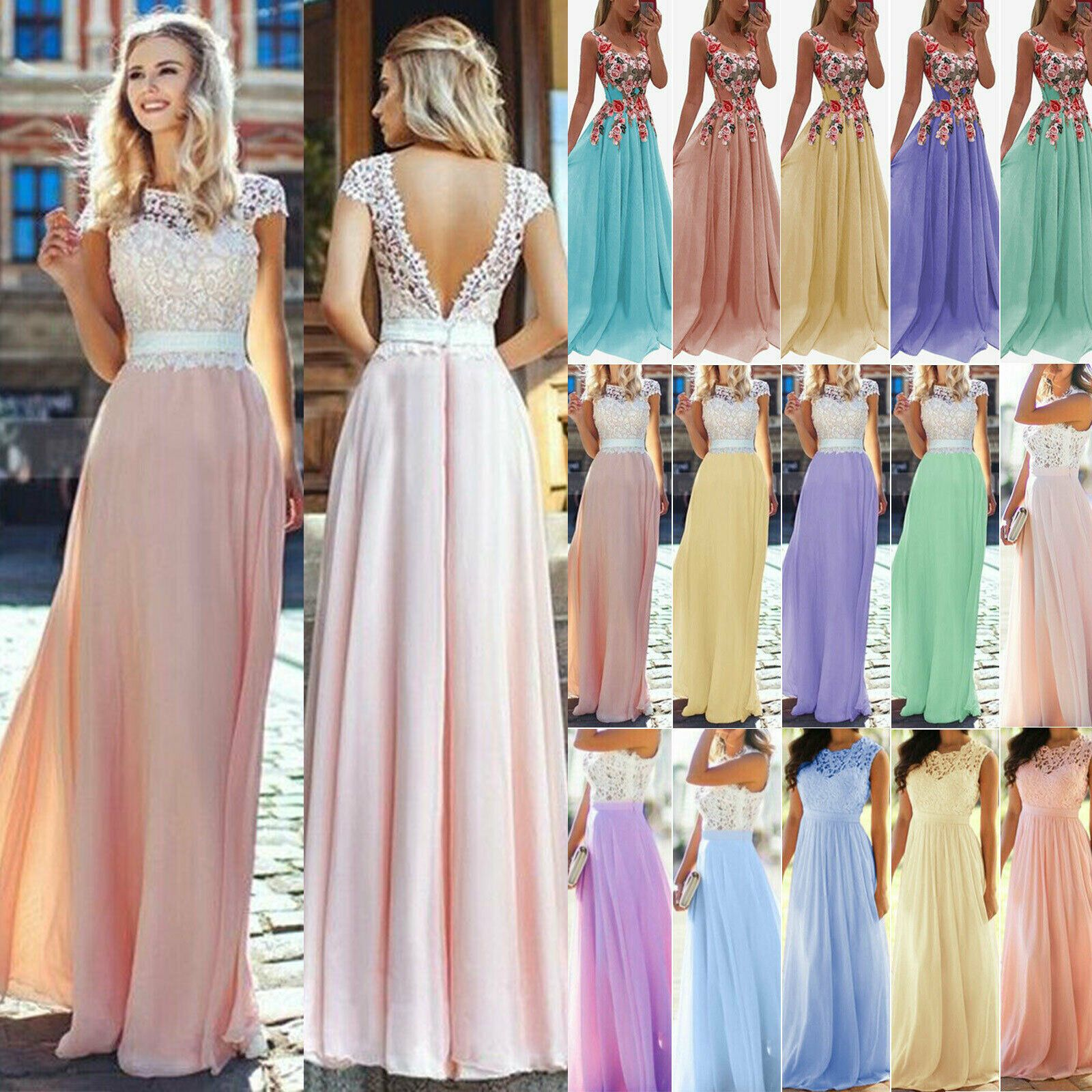 Women Formal Wedding Bridesmaid Evening Party Ball Prom Maxi Floral Lace Dress Lace Dresses Ideas Of L Lace Dress Chiffon Dress Long Backless Evening Dress