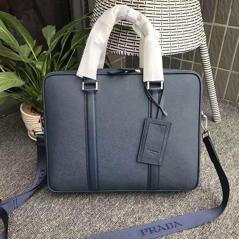 6c20908efb12 Prada 2VE366 Saffiano Leather Briefcase In Blue   Prada bags outlet ...