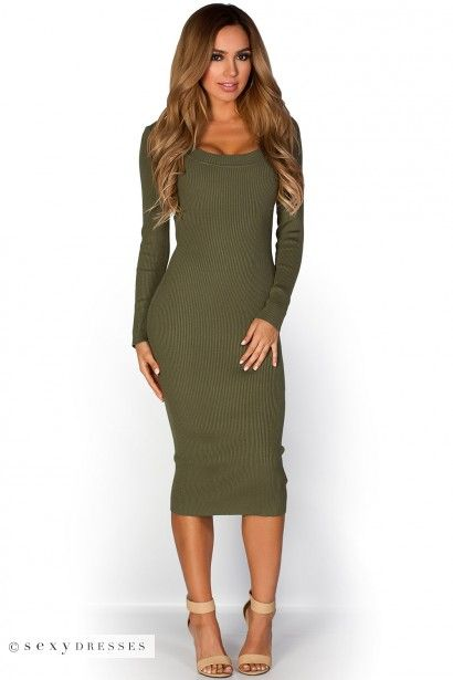"""Lynette"" Olive Green Scoop Neck Long Sleeve Ribbed Knit ..."