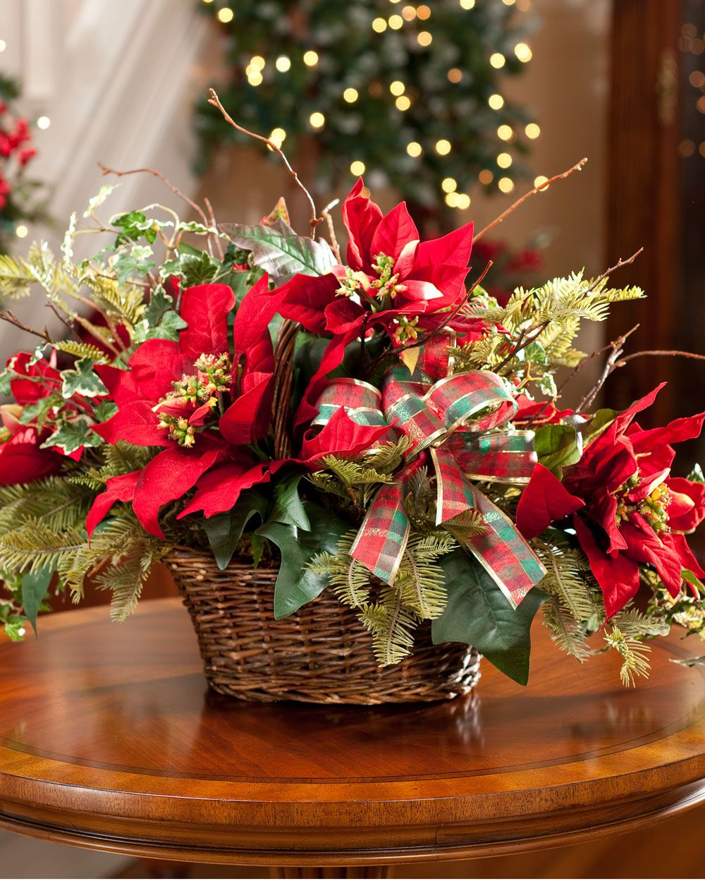 Poinsettia and Evergreen Silk Centerpiece for Holiday and Christmas Decoration  Ideas