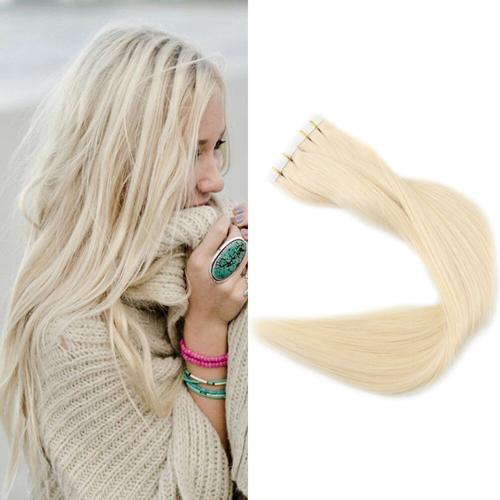 Light Blonde 60 Tape In Premium Remy Human Hair Extensions 40 Pcs