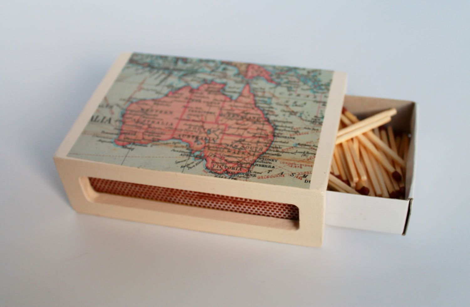 Wood Matchbox Cover For Cooku0027s Matches With World Map Decoupage Design, Map  Matchbox, Kitchen