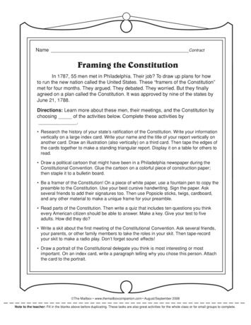 Framing the Constitution, Lesson Plans - The Mailbox | Teaching ...