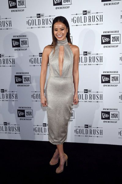 Jamie Chung Cutout Dress Turned Heads At The New Era Style Lounge In A Silver Misha Collection With Slashed Bodice