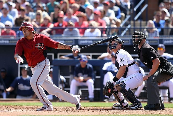Henry Blanco of the Arizona Diamondbacks hits a two run home run against the San Diego Padres
