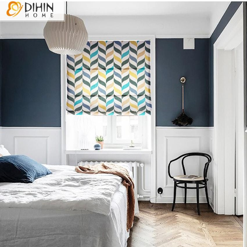 DIHIN HOME Nortic Style Printed Roman Shades ,Easy Install