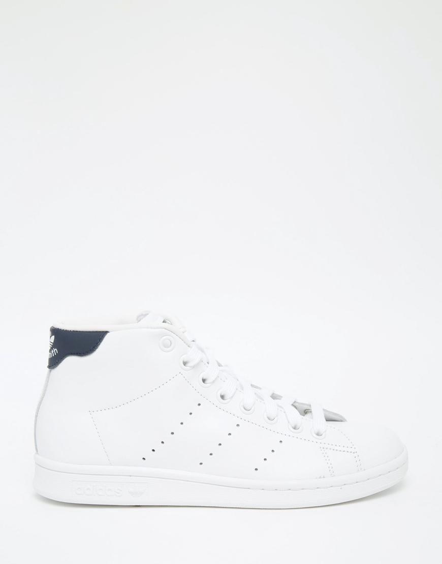 designer fashion c502f c6cdb Adidas  adidas Originals White  Black Stan Smith Mid Top Sneakers at ASOS