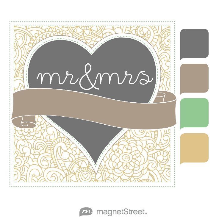 Charcoal, Ashwood, Tropic, and Gold Wedding Color Palette - free custom artwork created at MagnetStreet.com