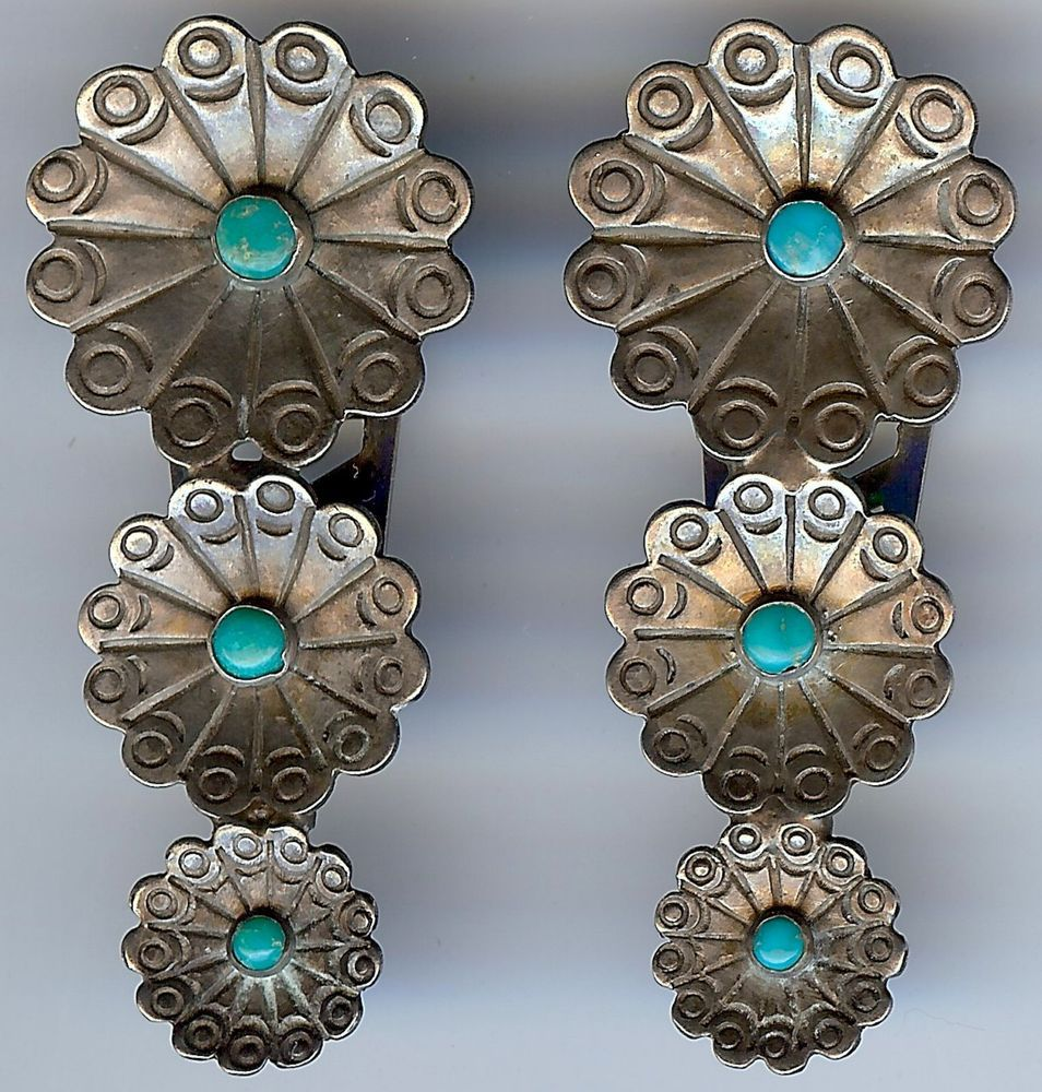 Native american wedding dress  Vintage navajo indian silver turquoise pair of shoe or dress clips