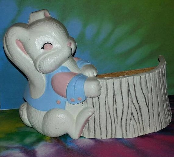 Boy Bunny Rabbit with Tree Trunk Basket by PurePoetrysEmporium