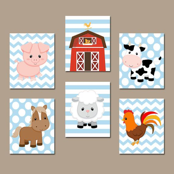 Farm Animals Wall Art Canvas Or Prints Country Baby Boy Nursery Cow Pig Barn Rooster Sheep Horse Western Bedroom Set Of 6