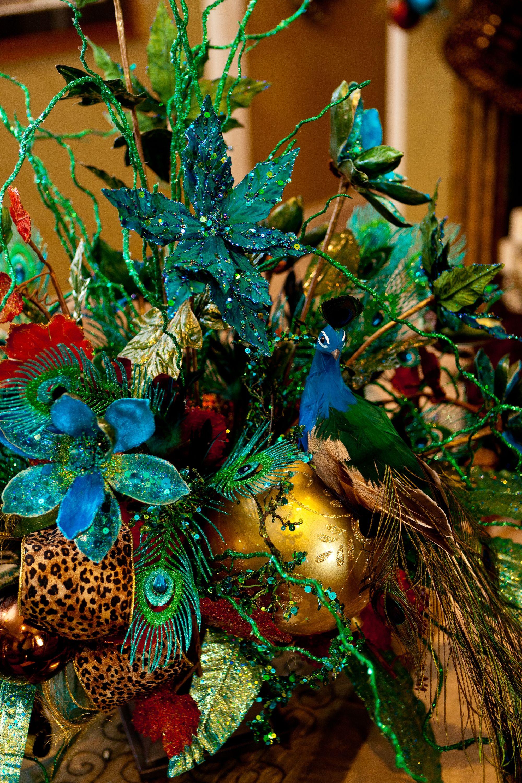 christmas two decorations blue birds decor of set peacock
