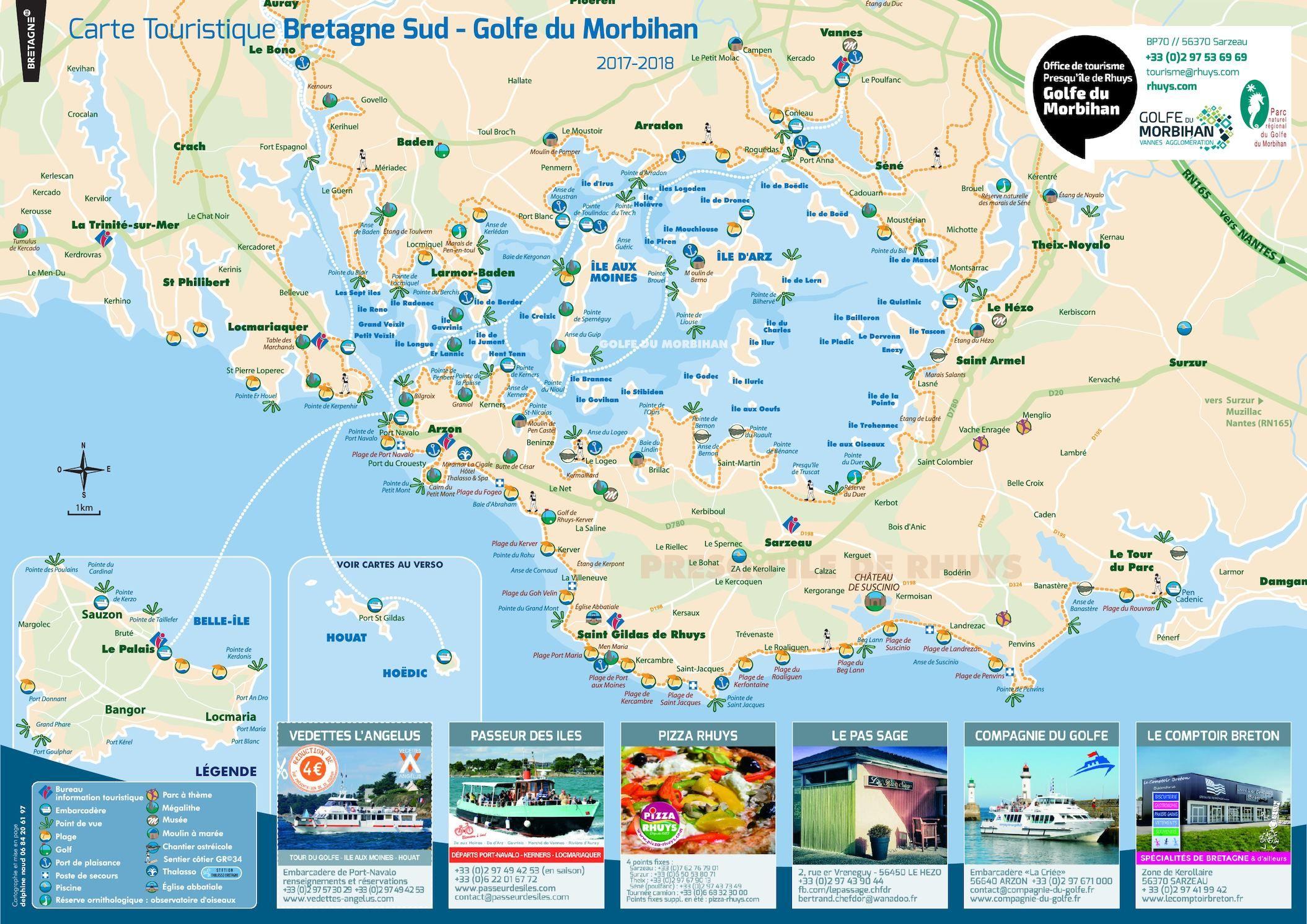 Plan Sous Main Carte Touristique Golfe Du Morbihan Et Bretagne Sud