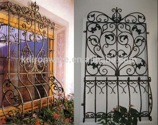 Beautiful low carbon q235 steel window grill design house for Iron window design house