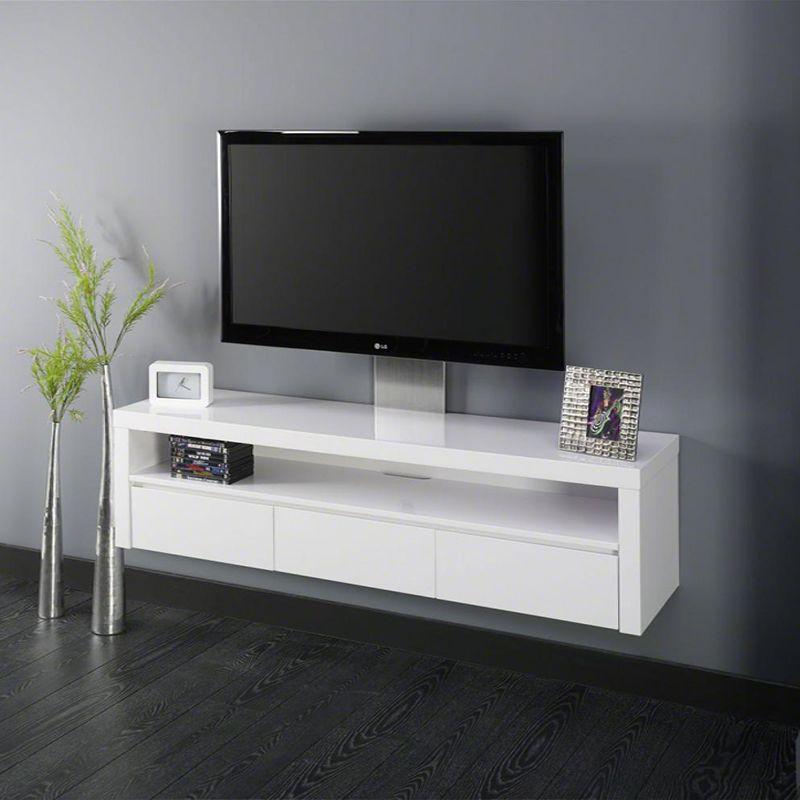 Meuble Tv Blanc Laque Design Evidence Petit Meuble Tv Meuble Tv
