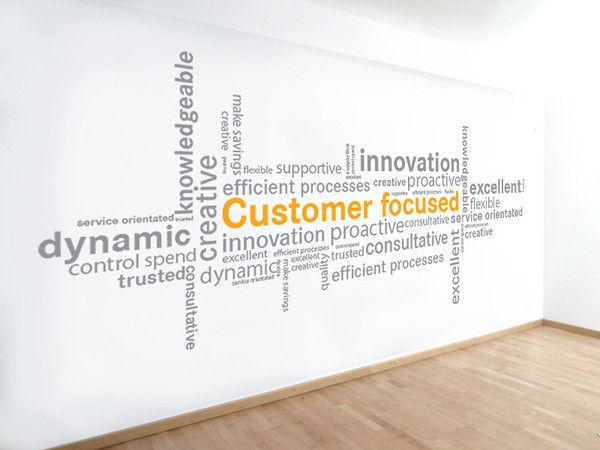 stunning office interior design wall art | Word Cluster wall sticker in 2019 | Office wall design ...