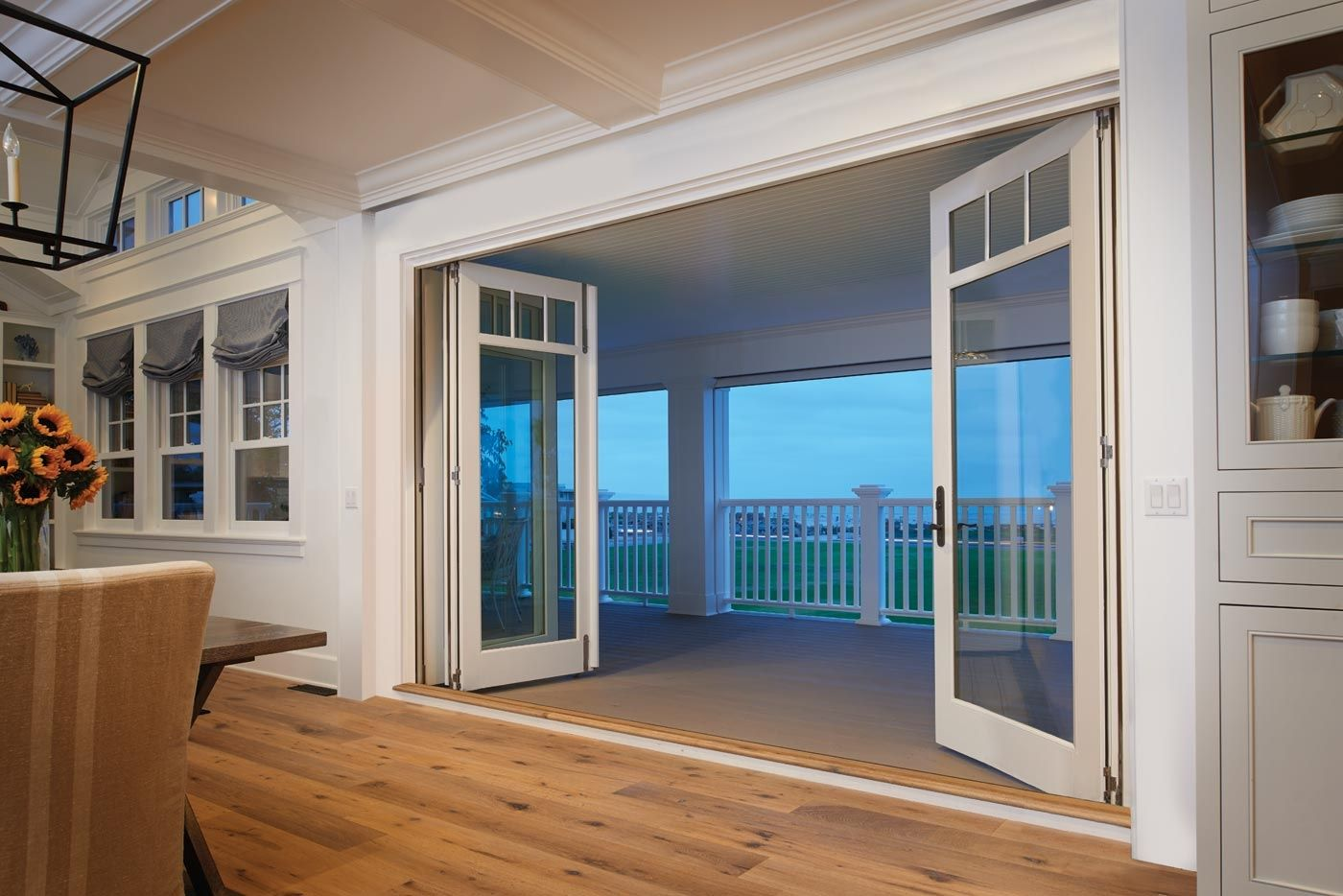 Exterior bifold french doors with glass