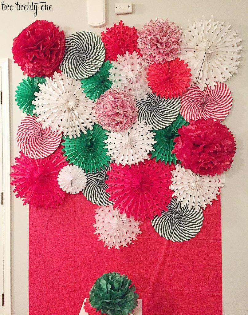 DIY Tissue Paper Pom Pom and Fan Backdrop images