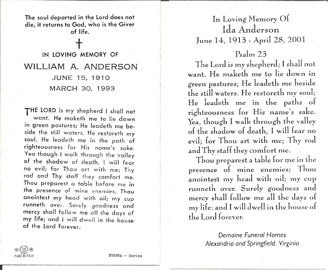 Funeral cards for Bill and Ida Anderson.