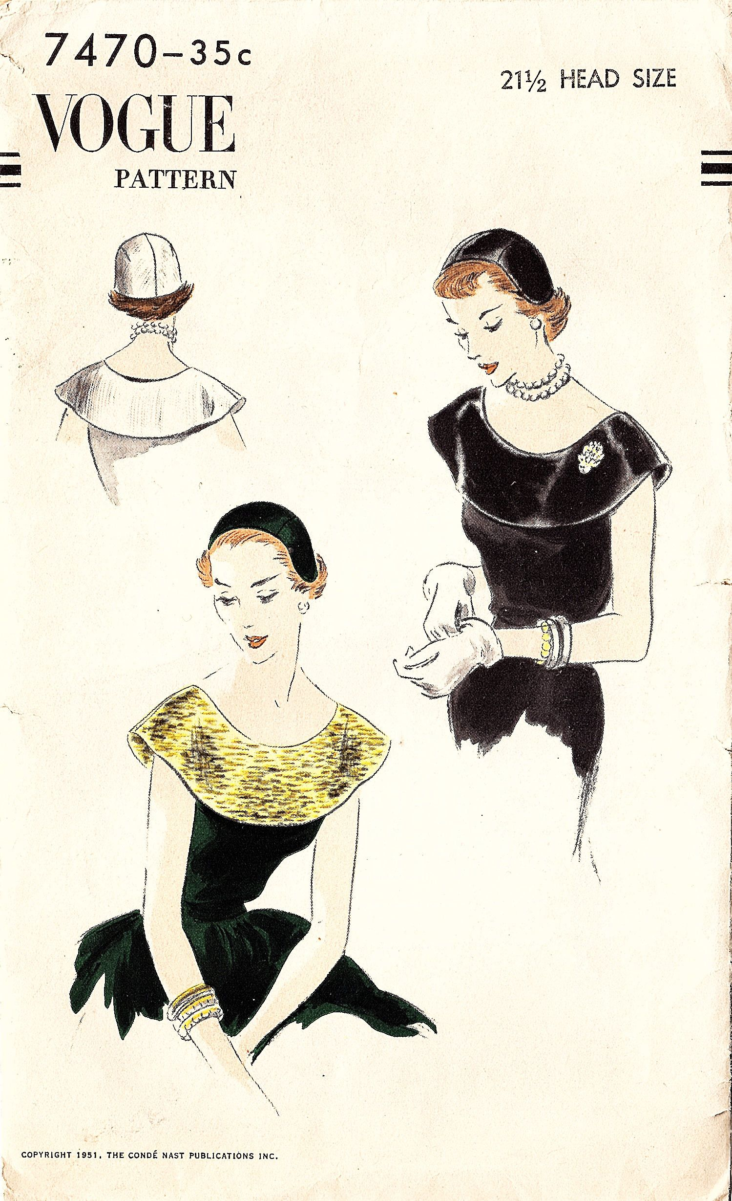 Vogue 7470 Misses\' Vintage 1950s Cap and Collar Sewing Pattern by ...