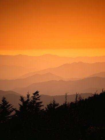 Great Smoky Mountains At Twilight Sunset Landscape Mountain Paintings Smoky Mountains Photography