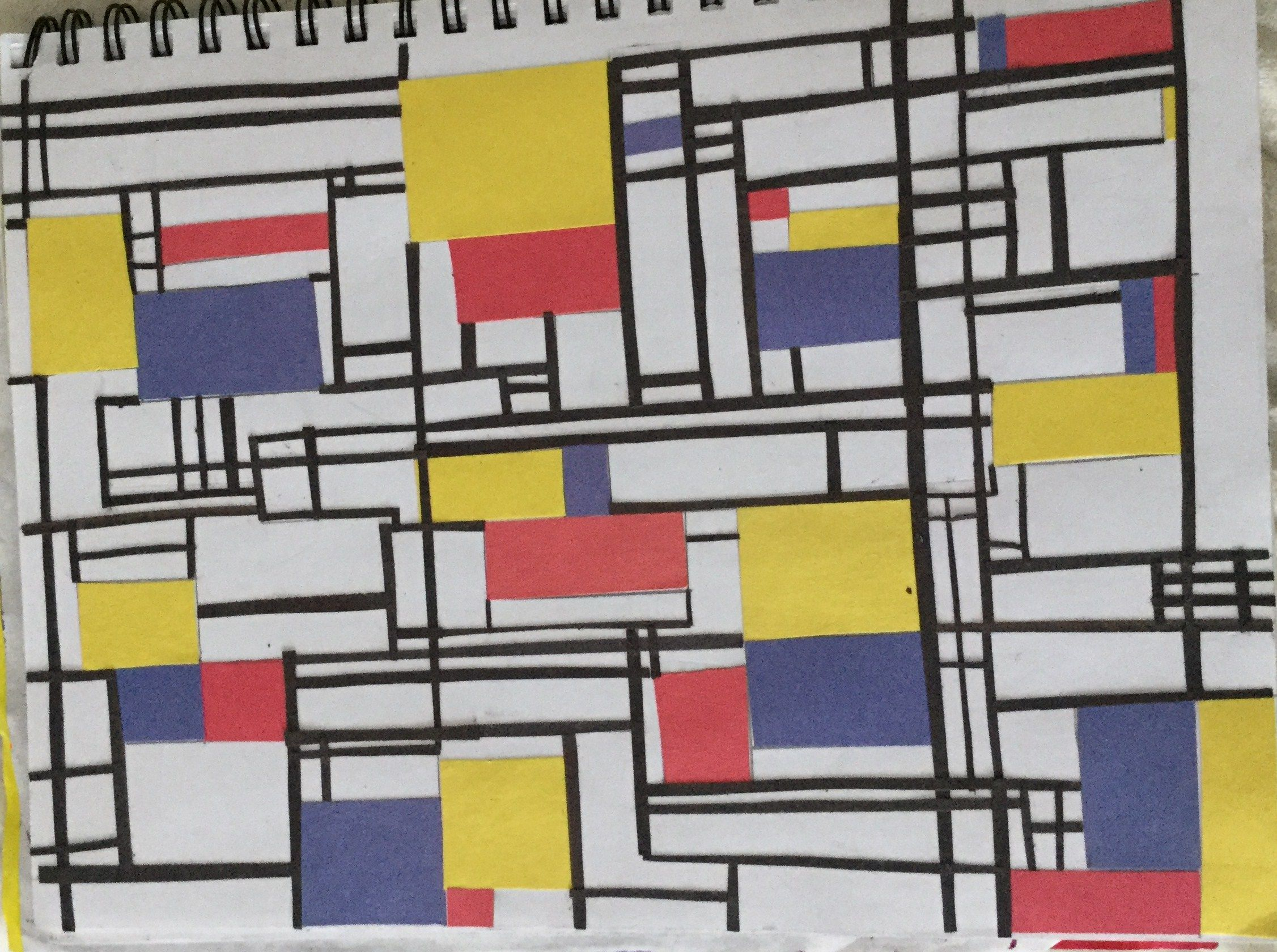 Straight line design. An element of line project. Students create their own Piet Mondrian style image. Construction paper.