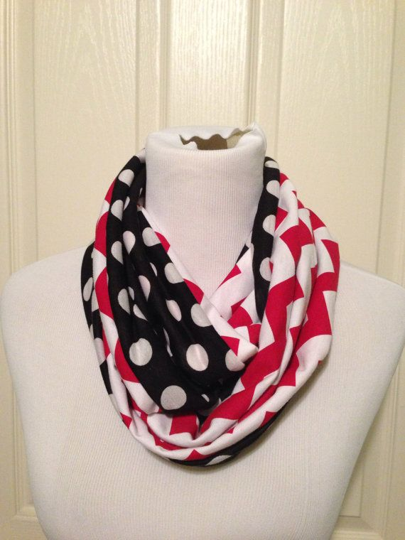 Minnie mouse red chevron and black polka by DimpleCheekBoutique