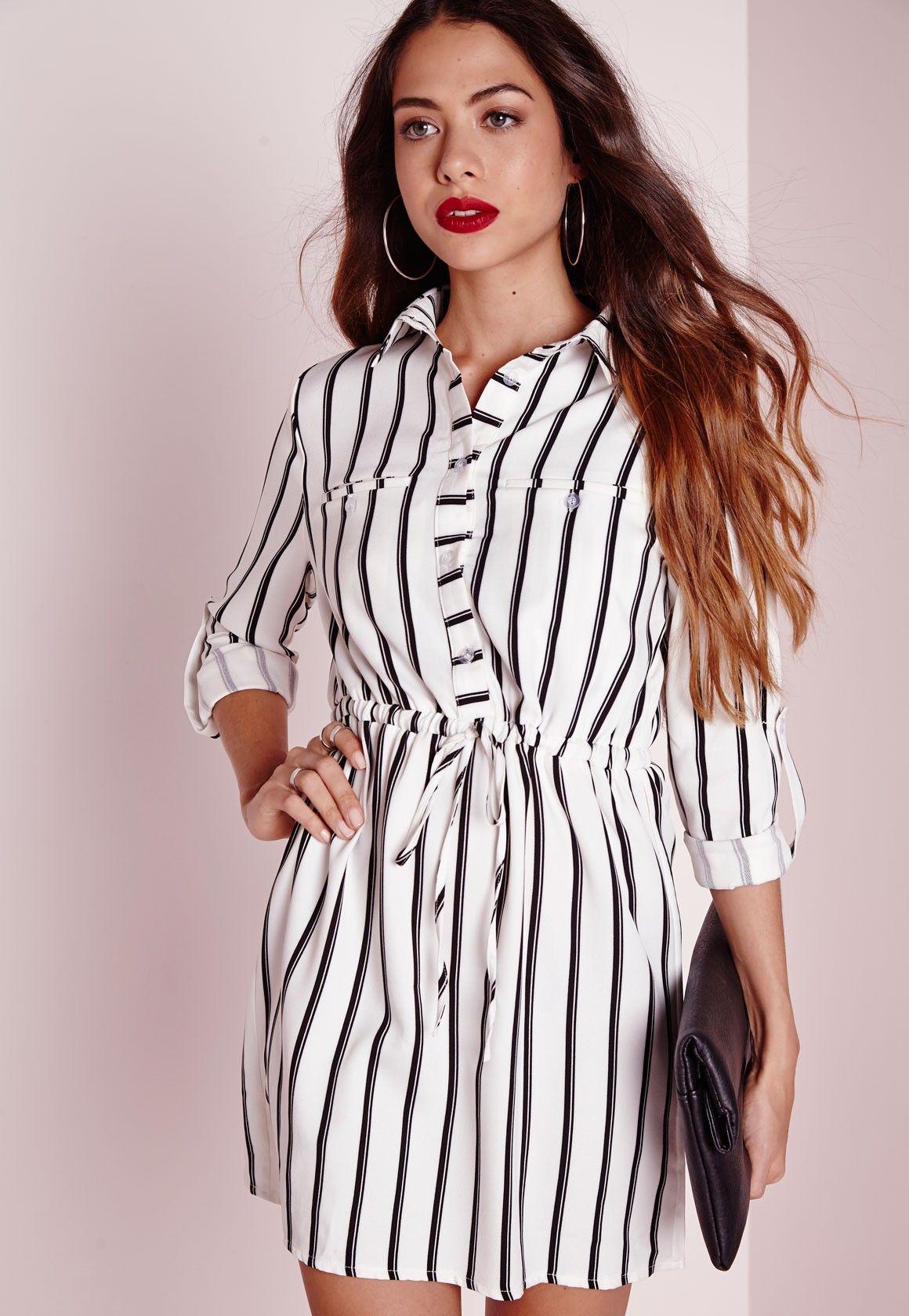 415d7fbfb0 Missguided - Robe-chemise noire et blanche à rayures avec cordon ...