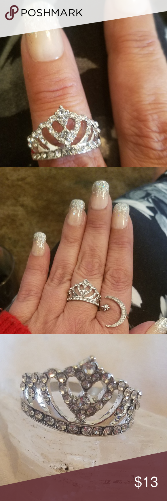 Princess Queen Crown Ring size 9 Boutique Moon and star