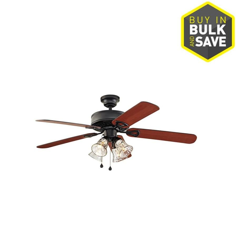 Harbor Breeze Springfield Ii 52 In Black Indoor Downrod Or Close Mount Ceiling Fan With Light Kit Ceiling Fan With Light Ceiling Fan Light