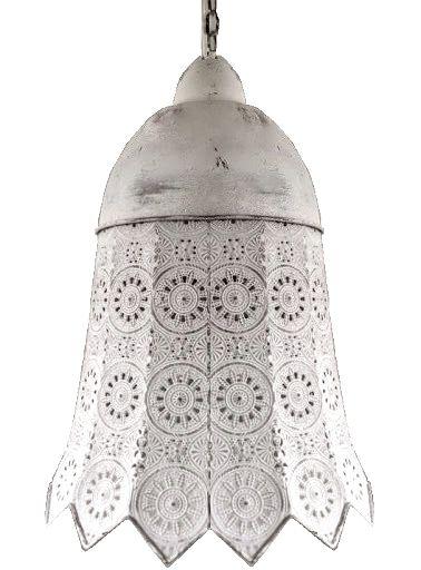 Stor taklampa spets antik vit vit antikpatinerad lantlig