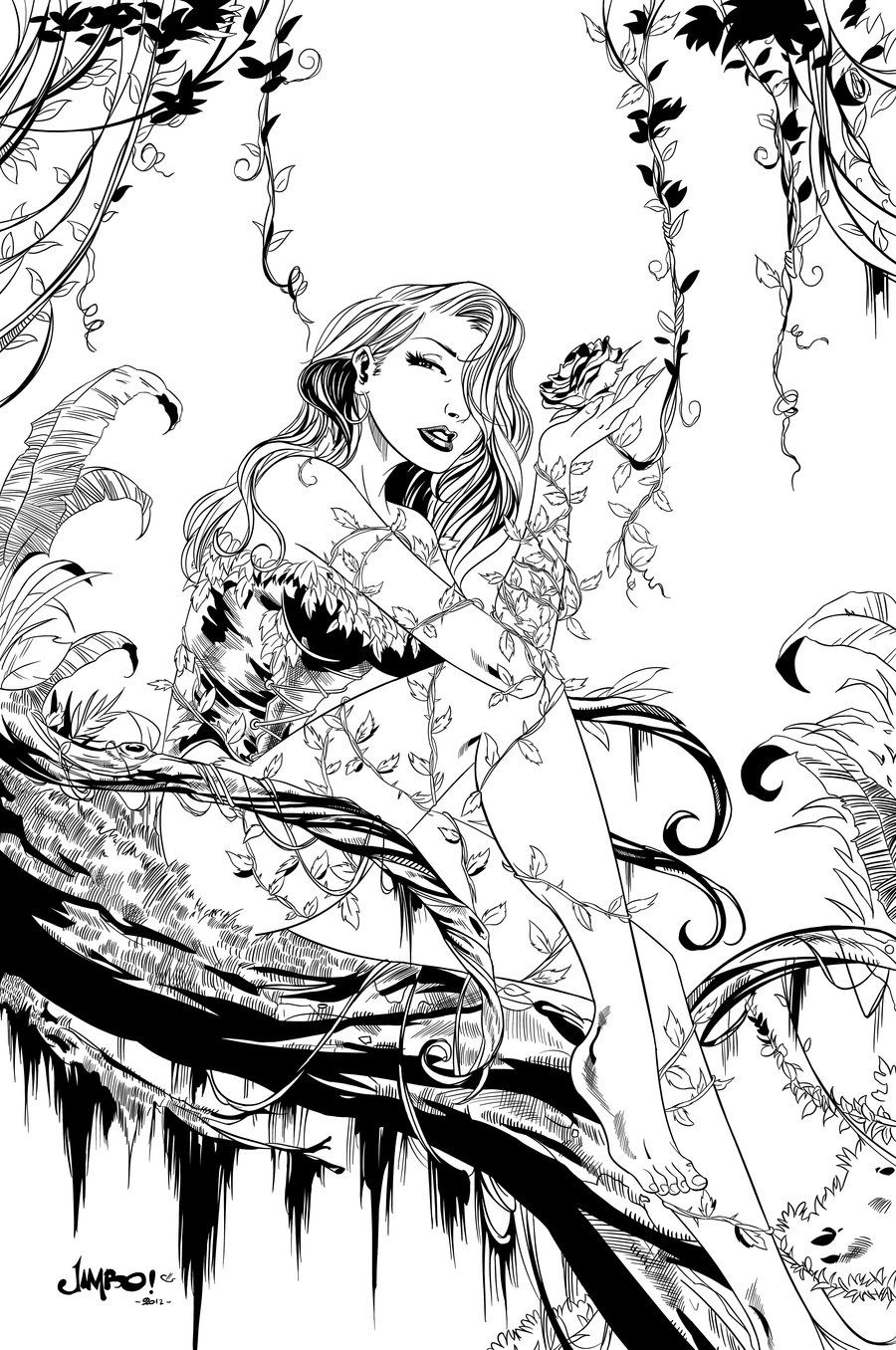 Princess ivy coloring page - Poison Ivy Inks By Carl Riley Art On Deviantart Adult Coloring Pagescoloring