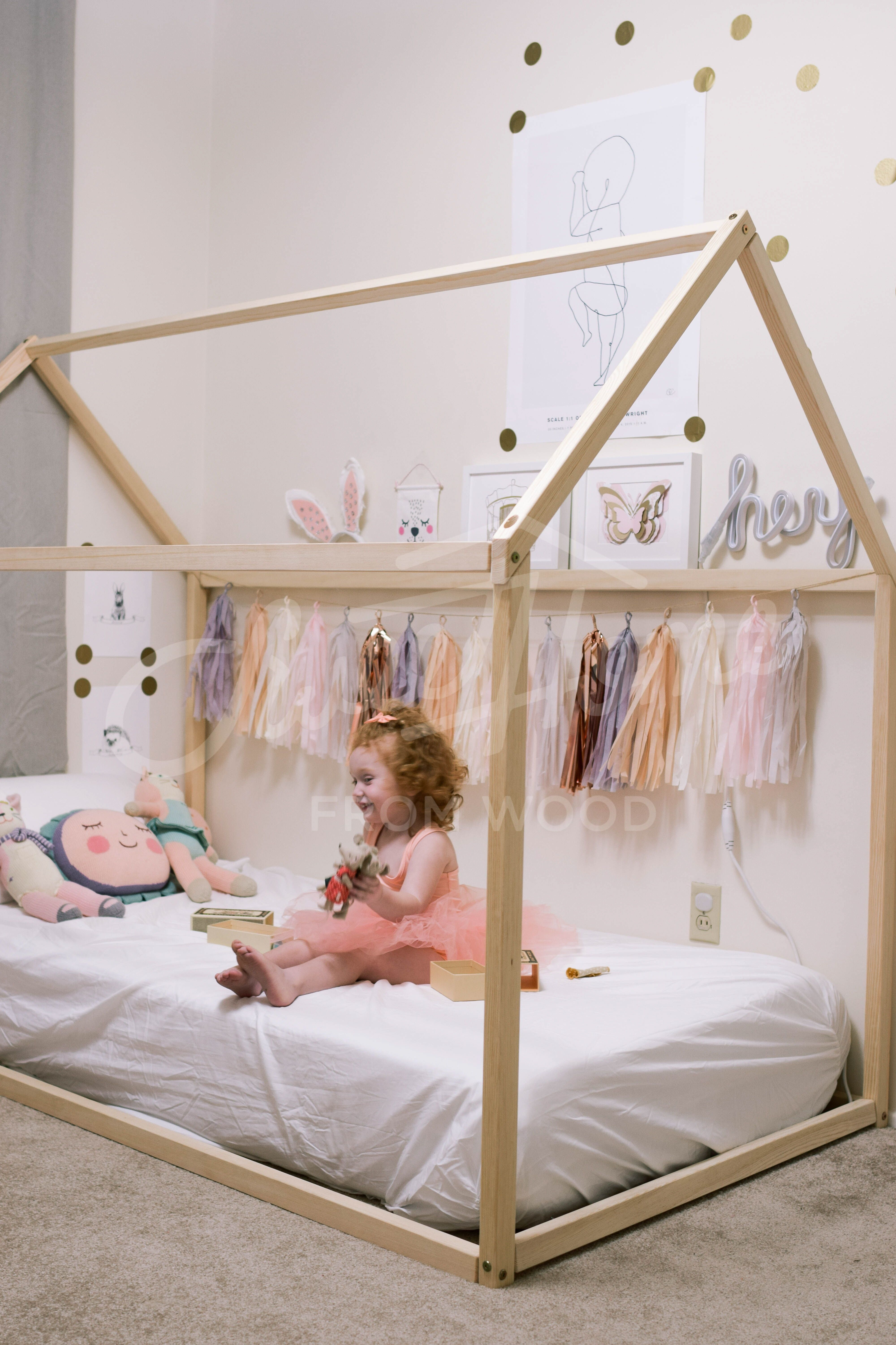 Toddler Bed House Shaped Bed Loft Bed Nursery Wood House Bed