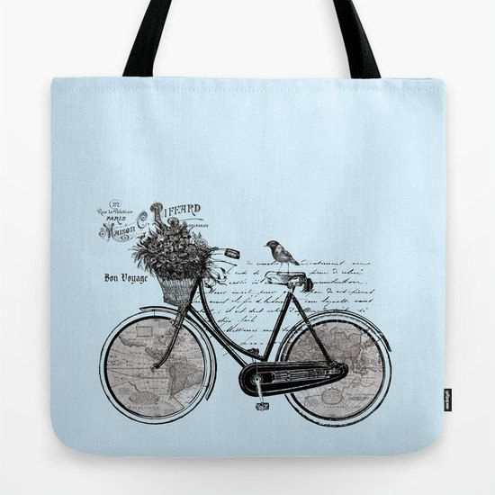 Bicycle Map Tote Bag, cute travel theme tote, everything bag, allover print, gift for mom, beach bag, travel bag