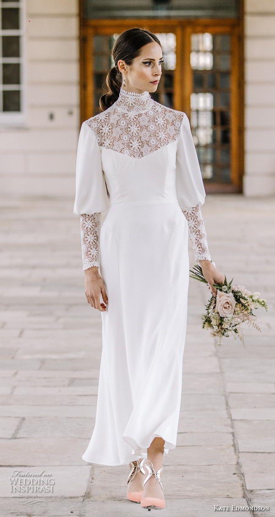 Kate Edmondson Couture Wedding Dresses Wedding Inspirasi Wedding Dress Couture Wedding Dresses High Neck Lace Wedding Dress [ 1688 x 900 Pixel ]
