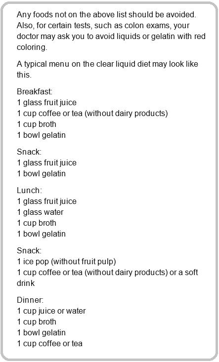 clear liquid diet items