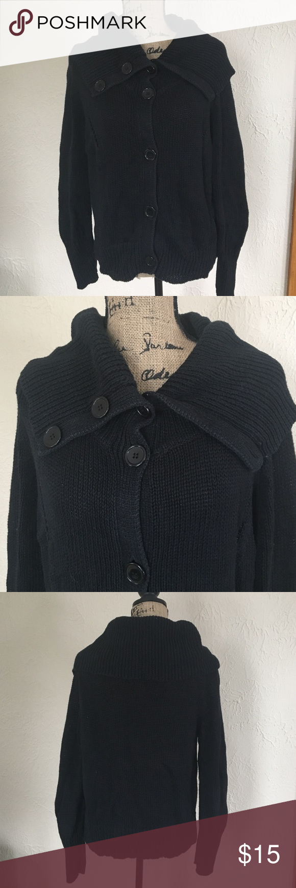 Black button down sweater | Black button, Conditioning and Nice