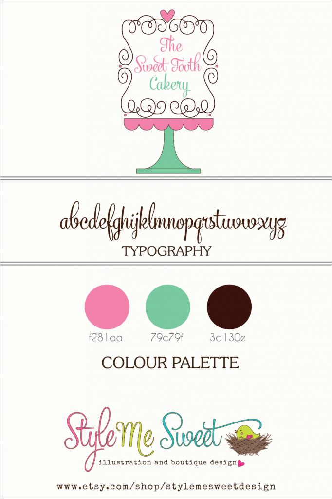 Ooak Premade Logo Design For The Sweet Tooth Cakery Custom Logo