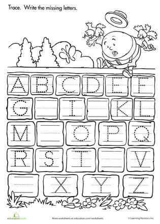 Trace And Write The Missing Letters Worksheets Kindergarten And
