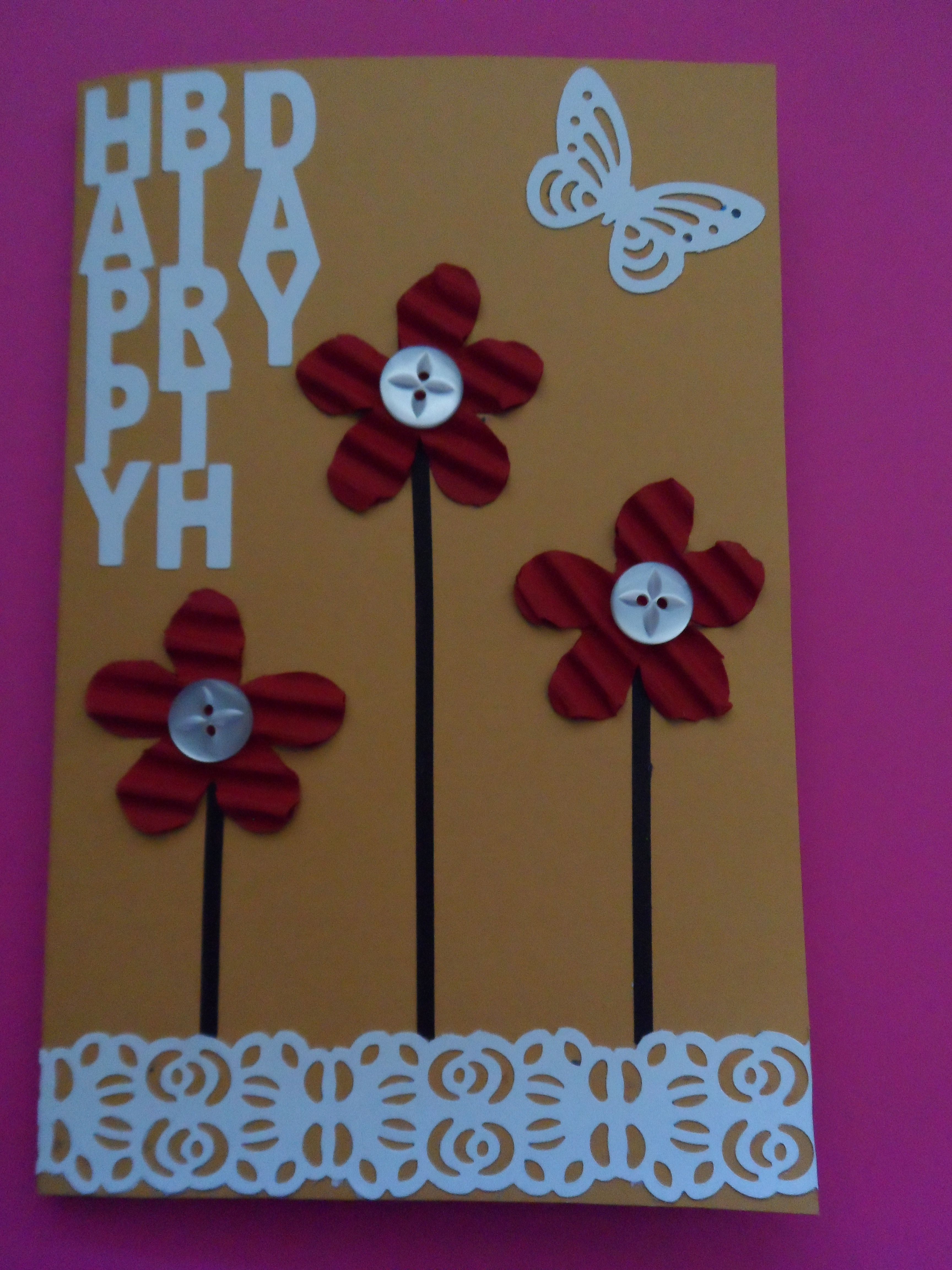 Birthday card diane a flowers made from cardboard with top layer
