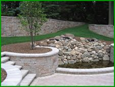 Steps and stone retaining wall