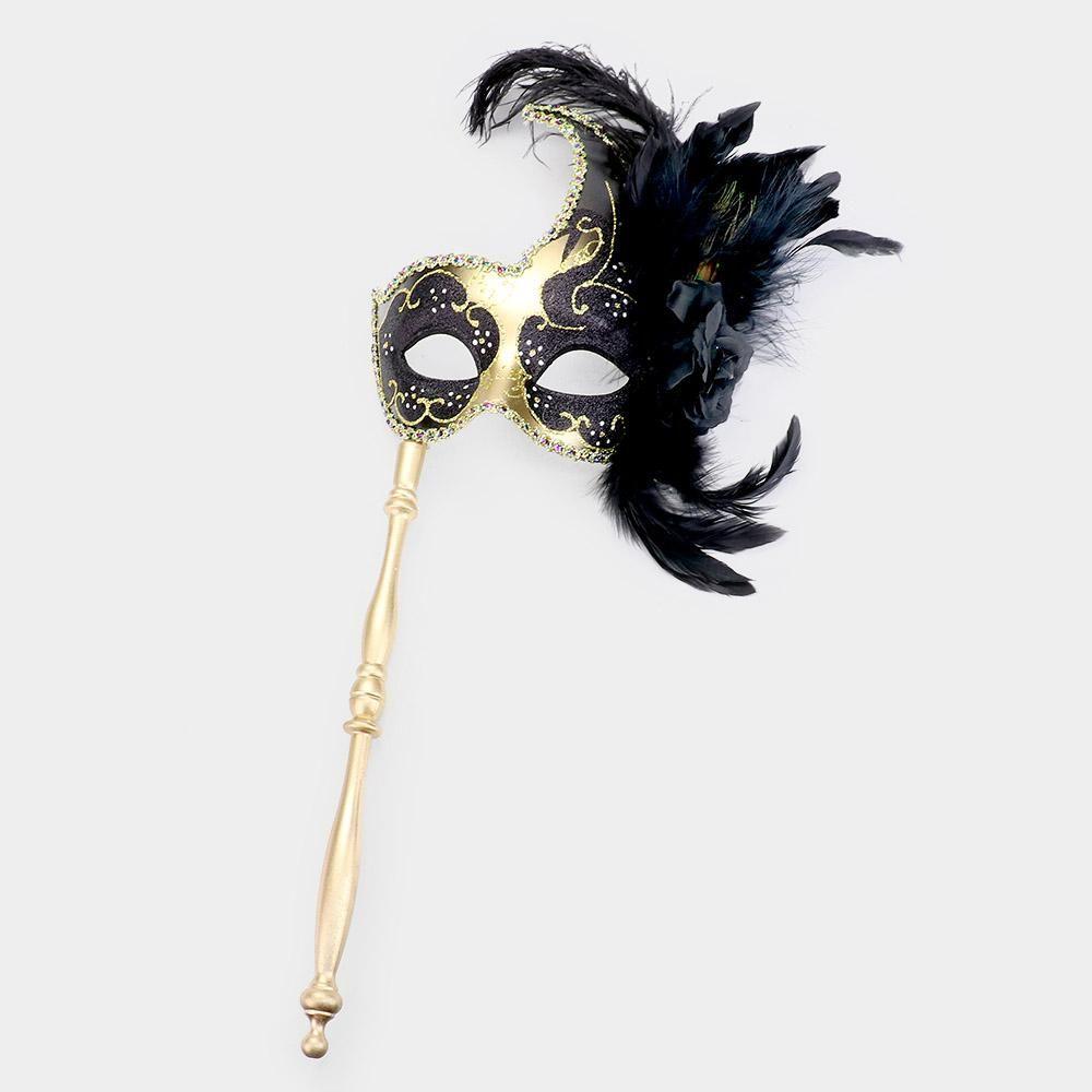 Masquerade Mask Black Masquerade Ball Handheld Stick Mask Mask with Handheld Stick Mardi Gras Masks Mardi Gras Mask